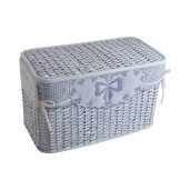 Cos depozitare alb din rattan textil alb gri Kis 60 cm x 35 cm x 38H