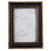 Rama foto de masa lemn negru auriu 14*2*19 cm