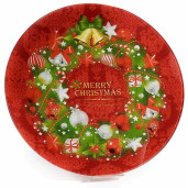 Platou sticla Merry Christmas Red Ø 30 cm