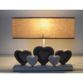 Veioza decorativa lemn textil Cuore 35x8x32 cm E27
