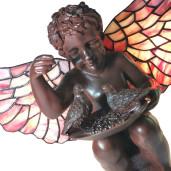 Veioza cu baza din polirasina maro si abajur din sticla Tiffany 33 cm x 21 cm x 33 h