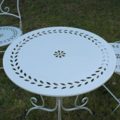 Set 2 scaune pliabile si masa fier forjat kaki Retro
