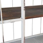 Raft perete cuier fier forjat alb vintage 2 polite 60x23x51 cm