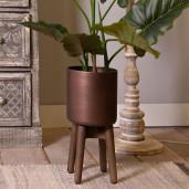 Suport ghiveci flori din lemn si fier cupru Ø 19 cm x 40 h