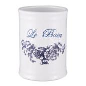 Set baie ceramica alb, albastru 4 piese Le Bain Ø 8x11 cm 0,35L