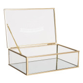 Caseta bijuterii din sticla transparenta si metal auriu 21 cm x 14 cm x 6 h