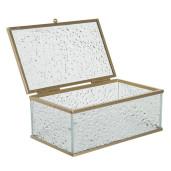 Caseta bijuterii din sticla si metal auriu 25 cm x 17 cm x 8 h