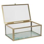 Caseta bijuterii din sticla transparenta si metal auriu 20 cm x 16 cm x 6 h