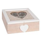 Cutie ceai lemn crem sticla 4 compartimente Heart 18 x 18 x 7 cm