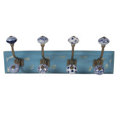 Cuier perete din lemn albastru 4 agatatori ceramica 45 cm x 10 cm x 18 cm
