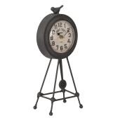 Ceas de masa cu pendul metal maro model trepied retro  14 cm x 9 cm x 23 cm