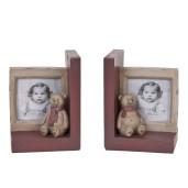 Set suporturi carti  lemn cu rama foto model Ursulet 24 cm x 22 cl 30 cm