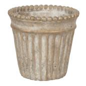 Ghiveci ceramica maro cu patina aurie Ø 15 cm x 14 cm