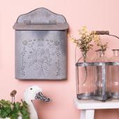 Cutie postala de perete din fier gri antichizat 26 cm x 10 cm x 35 h