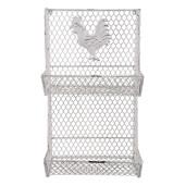 Suport fier forjat suspendabil alb vintage Chicken 28x20x49 cm