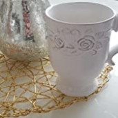 Cana ceramica alba Roses Ø 9*11 cm - 0,25L