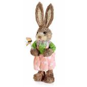 Figurina Iepuras Paste cu rochita Roz cm 11,5 x 10,5 x 38 H