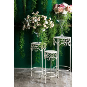 Suport flori fier forjat alb pentru ghiveci flori ø25x60h