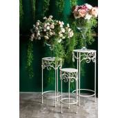 Suport flori fier forjat alb pentru ghiveci flori ø20x50h