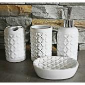 Set baie ceramica alba 4 piese 14 cm x 9 cm