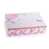 Cutie ceai lemn 6 compartimente Roses cm 24 x 17 cm x 6 H