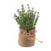 Flori artificiale mov in ghiveci de iuta Ø 8 cm x 18 h