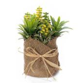 Plante suculente artificiale in ghiveci iuta verde galben  Ø 10 cm x 18 H