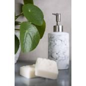 Dispenser ceramica alb marmorat pentru sapun Ø 8x18 cm