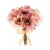 Buchet artificial gerbera roz somon 24 cm