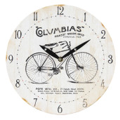 Ceas de perete alb vintage cu model Biciclet Ø 29 cm x 4 cm