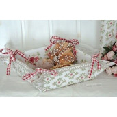 Cos paine bumbac alb rosu Romantic 35 cm x 35 cm x 8 cm