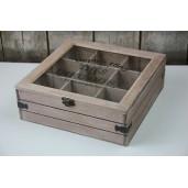 Cutie din lemn vintage pentru ceai 6 compartimente 24 cm x 16 cm x 8 cm