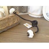 Cuier fier forjat ceramica negru alb 5 cm x 10 cm x 20 cm