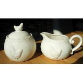 Set latiera si zaharnita ceramica crem