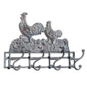 Cuier fier forjat gri vintage 4 agatatori Chicken 32x9x27 cm
