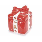 Borcan ceramic rosu alb cu capac decorativ cutie cadou cm 12 x 12 x 14 H