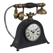 Ceas de masa telefon Retro metal negru auriu 26 cm x 9 cm x 25 h