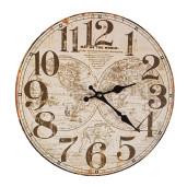 Ceas de perete lemn rotund maro vintage 34 cm