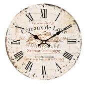 Ceas de perete lemn rotund vintage Coteaux de Loire ø35