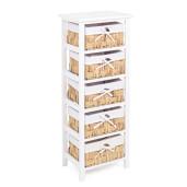 Comoda 5 sertare lemn rattan alb natur 38 cm x 27 cm x 93h
