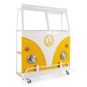 Bar mobil cu 3 polite mdf natur si metal alb galben Van 138 cm x 40 cm x 174 h