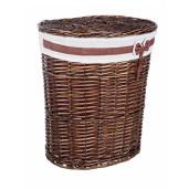 Cos rufe din rattan oval maro alb Ribbon 49 cm x 36 cm x 55 h
