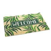 Covoras intrare casa antiderapant fibre cocos cauciuc verde crem Welcome 60 cm x 40 cm