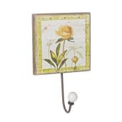 Cuier de perete lemn model Floare galbena 14 cm x 14 cm