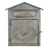Cutie postala de perete din metal gri antichizat 31 cm x 12 cm x 36 h