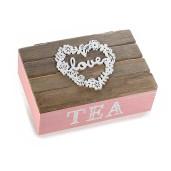 Cutie ceai lemn roz natur 6 compartimente model Love cm 21 x 14 cm x 8 H