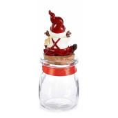 Borcan din sticla si figurina Spiridus ceramica rosie Ø 6x15 cm