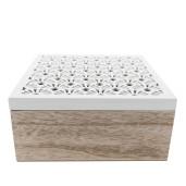 Cutie ceai lemn natur alb 1 compartiment cm 18 x 18 cm x 8 H