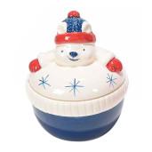 Borcan Craciun ceramic decorativ cu capac model Urs Polar Ø 9 cm x 10 H