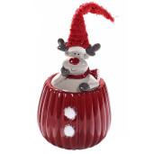 Borcan Craciun ceramic decorativ cu capac model Ren rosu Ø12cmx27H